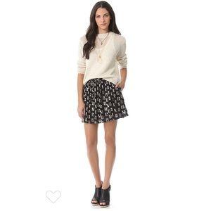 Madewell Black Cream Bernadette Flare Mini Skirt S